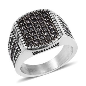 Grey Austrian Crystal Black Oxidized S/S Ring